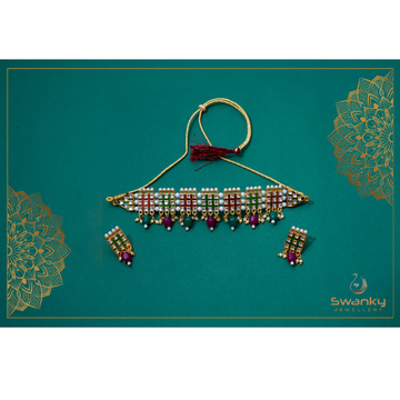 Attractive necklace set with colorful beads by Swanky Jewellery
