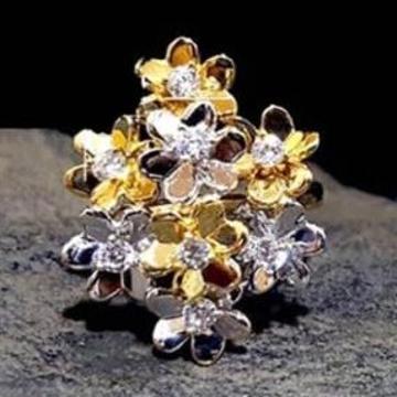 916 Gold Premium 3 Tone Ladies Ring RH-LR46