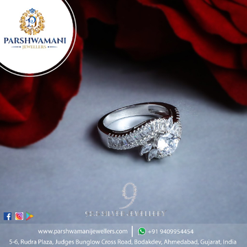 92.5 Sterling Silver Choki Stone Single Solitaire Cz Fancy Ring for Women