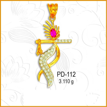 916 Gold Krishna Design CZ Diamond Pendant PD-112