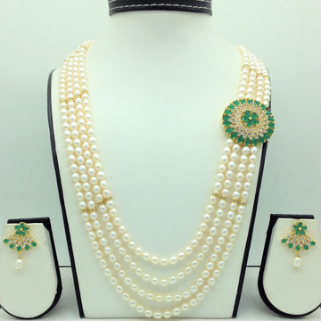 White,GreenCZ BroochSet With 4Lines OvalPearls...