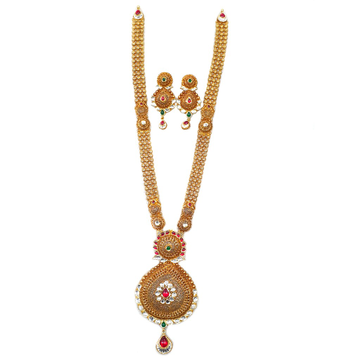 22k Gold Antique Rajwadi Necklace With Earrings MGA - GLS065
