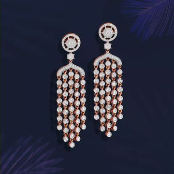 18kt Rose Gold Long Earring For Loving Diamond Jewellery