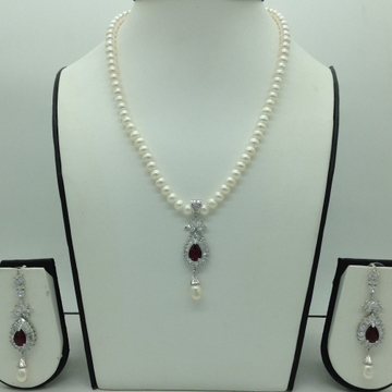 White And Red CZ Pendent Set With Flat Pearls Mala...