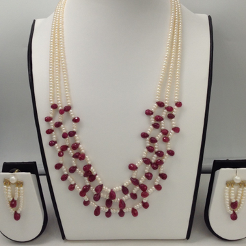 Freshwater White Flat Pearls 3 Layers Necklace Set With Faceted Ruby Drops