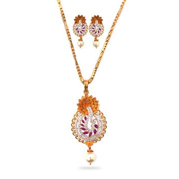 916 Gold Attractive Diamond Pendant Set by