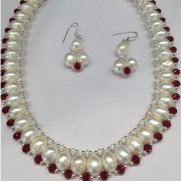 "Freshwater White Oval Pearls And Red Crystals ""U"" Jaali Necklace Set JPP1003"