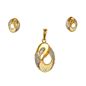 22K Gold Oval Shaped Modern Pendant Set - PTG0134