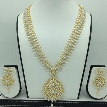 Freshwater White Button Pearls Long Haar Set JNC01...