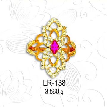 22KT Gold Traditional CZ Diamond Ladies Ring LR-138