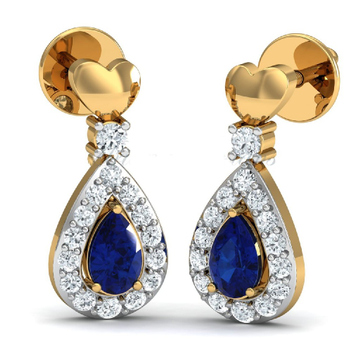 22KT Gold CZ Blue Sapphire Stone With Heart Shap Earring For Women