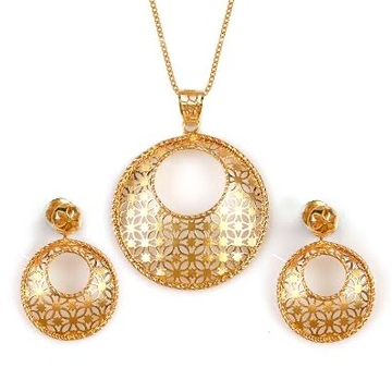 22 Karat, 916 Hall-Marked, Yellow Gold Modern texture Design round shaped Earrings And Pendant Set For Women Jkp006