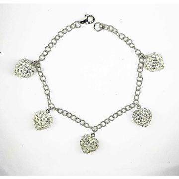 Fancy 925 Silver Ladies Bracelet With Stones In Heart Shape