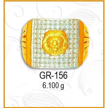 916 Gold Designer CZ Gents Ring GR-156