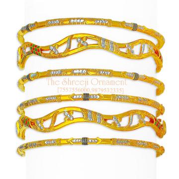 916 Gold Flower Design 6 Pair Copper Kadali Set - 012