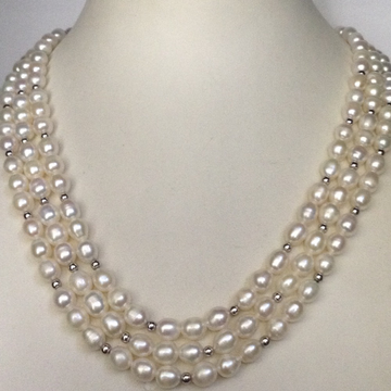 Freshwater White Oval Pearls 3 Layers Necklace with White Jaco Beeds