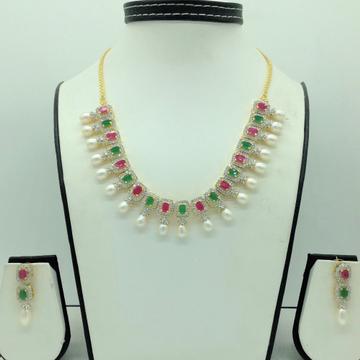 Multicolour CZ Stones And Tear Drop Pearls Necklac...