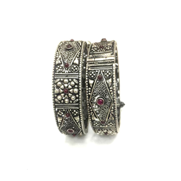 925 Silver Antique Colorful Stone Kada