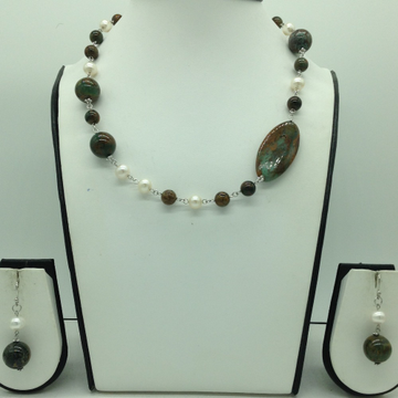 Freshwater Cream Pearls and Melagite Silver Chain ...