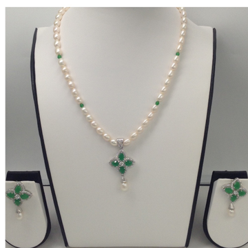 White, green cz and white pearls pendent set with oval pearls mala jps0058