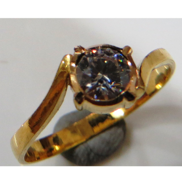 22kt gold close setting cz solitaire gents ring gr-005