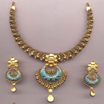 916 Gold Hallmark Antique Khokha Necklace Set