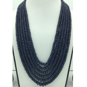 Natural Blue Sapphires Round Plain6Layers Neckla...