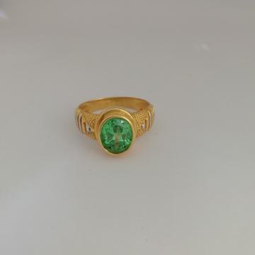 916 gold green diamond Gents ring by Vinayak Gold