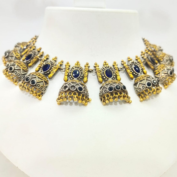 Gold plated Oxidised silver Jhumka style choker set with blue stone 1645