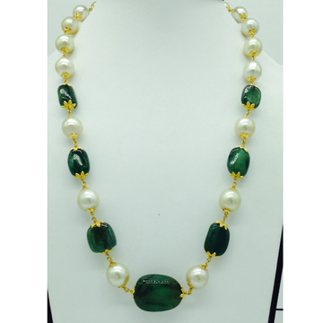 South sea pearls with emerald tumbles gold taar ne...