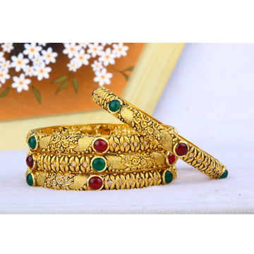 916 Gold Antique Jadtar Bangles BGG - 0032
