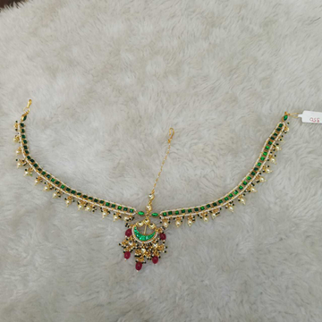 Green Delicate Kundan's Mathapatti (Indian Traditional Jewellery)1108