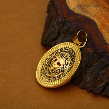 Mens 18K Hollow Lion Gold Pendant-HLP62