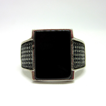 Silver 925 mirror finishing black stone ring for gent sr925-195