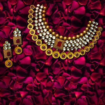 916 Gold Antique Jadau Necklace Set by