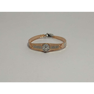 92.5 Sterling Silver Rodyam & Rose Gold 2(Two) Tone Kada Bracelet Ms-3889