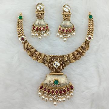 916 GOLD HAL ROUND LIGHT WEIGHT HANSDI SET by Ranka Jewellers