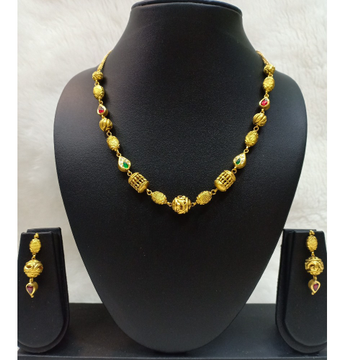 22KT Gold Fancy Green Stone Jadtar Mala