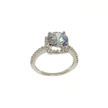 925 Sterling Silver Solitaire Diamond Ring MGA - LRS3484