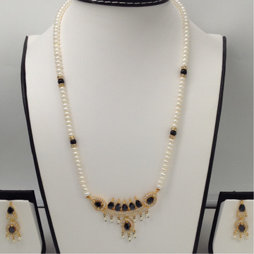 White, BlackCZ And PearlsPendentSet With FlatPearls Mala JPS0089