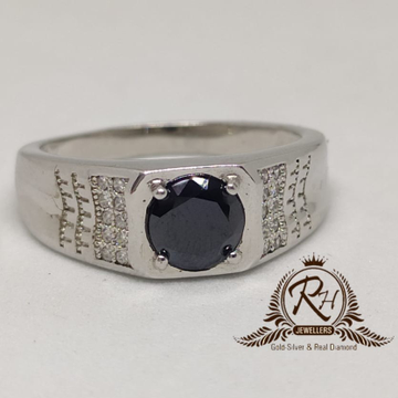 92.5 silver black stone gents ring Rh-Gr939