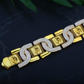 Mens 916 Gold Fancy Cz Lion Bracelet-MCB24