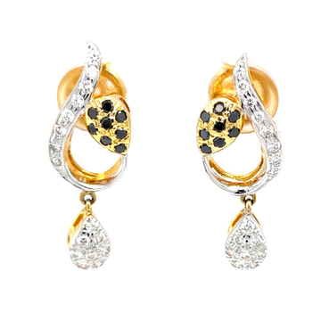 Earrings with a small drop in black & white diamonds 7top157