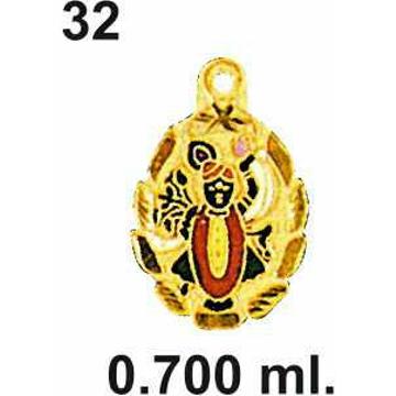 916 Gold Shrinathji Pendant DC-P032
