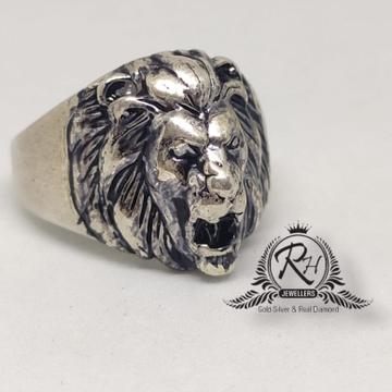 92.5 Gents Oxidize lion king Ring Rh-Gr940