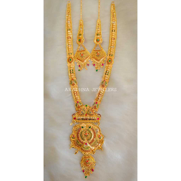 22KT Antique Gold Long Necklace Set