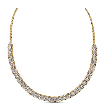 22kt gold and single line of diamonds necklace jkn008