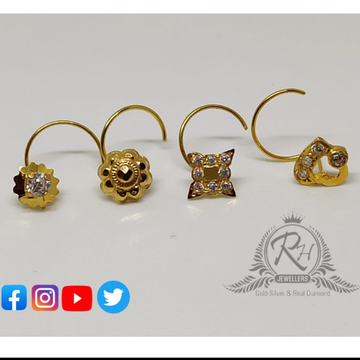 18 carat gold fancy nose pins RH-NS212