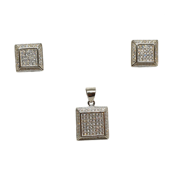 925 Sterling Silver Square Shaped Designer Pendant Set MGA - PTS0110