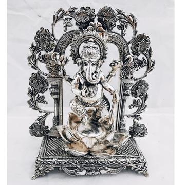 925 Pure Silver Ganesha Idol in Dancing Mudra 8Inc...